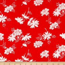 Crinkle Challis Wildflower Red/White Fabric