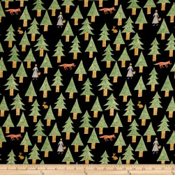 Kokka Sakkkaz Woods Trees Cotton Canvas Black Fabric