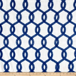 Europatex Nantucket Embroidered Slub Navy Fabric