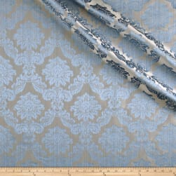 Europatex Dashing Damask Jacquard Aqua Fabric