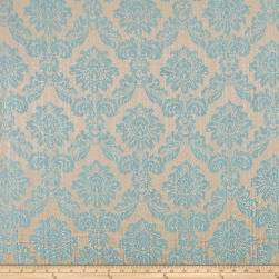 Europatex Dashing Damask Jacquard Teal Fabric
