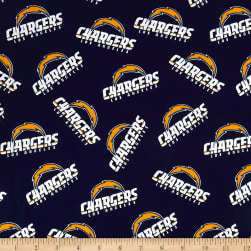NFL Cotton Broadcloth Los Angeles Chargers Navy Fabric