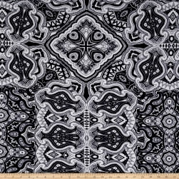 ITY Jersey Knit Abstract Paisley Navy/White Fabric