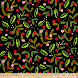 Alexander Henry Christmas Time Merry Mistletoe Black Fabric