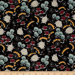 Alexander Henry Haunted House Belinda's Herbs Black Fabric