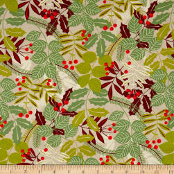 Alexander Henry Christmas Time Pine Berry Taupe Fabric