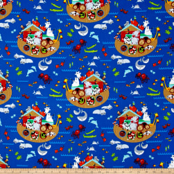 Timeless Treasures Noah's Ark Noah's Ark Blue Fabric