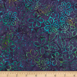 Timeless Treasures Tonga Mystical Batik Stencil Flower Grape