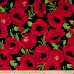 Timeless Treasures Flannel Medium Poppy Red Fabric