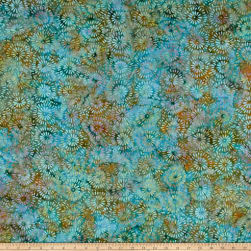 Island Batik Cotton Ogee Petal Cool Waters Fabric