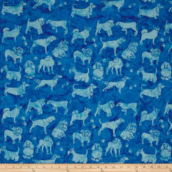 Island Batik Cotton Dogs Blueberry