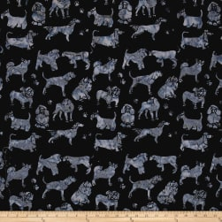 Island Batik Cotton Dogs Charcoal