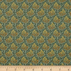 Crystal Farm Elderberry Teal Fabric