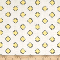 Andover Flourish Scrolling Dot Canary Fabric