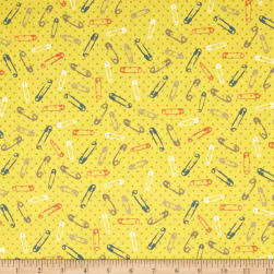 Handmade Safety Pins Yellow Fabric