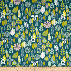 Modern Retro Foliage Blue Fabric