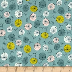 Modern Retro Flowers Blue Fabric
