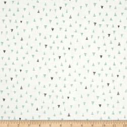 Andover/Makower Doodle Days Triangles Turquoise Fabric