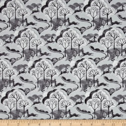 Into The Woods Trees Grey Fabric