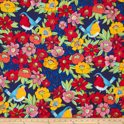 Alexander Henry In The Kitchen Birdland Navy Fabric