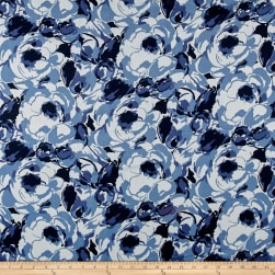 Italian Painterly Rose Print Cotton Silk Batiste Blue/Navy