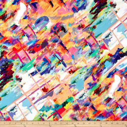 French Digital Paintbrush Print Sateen Multi