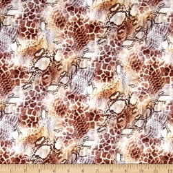 French Digital Snakeskin Print Scuba Knit Brown/Off.Whte Fabric