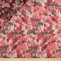 French Reversible Tropical Floral Jacquard Pink/White/Blue Fabric