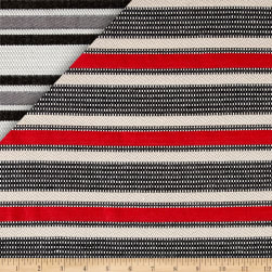 French Striped Jacquard Red/Beige/Gray/White Fabric