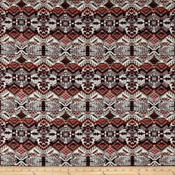 French Tribal Jacquard Red/Orange/Off White/Black Fabric