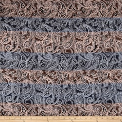 French Paisley Jacquard Blue/Brown/Pink Fabric