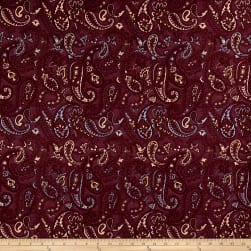 French Paisley Jacquard Red/Blue/Yellow/Coral Fabric
