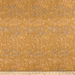 French Paisley Jacquard Mustard/Blue/Coral Fabric