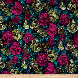 Italian Floral Felt Impression Pink/Green/Blue/Black Fabric