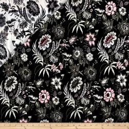 French Reversbile Stylized Floral Jacquard Black/White/Pink Fabric