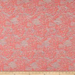 French Metallic Floral Jacquard Pink/Red/White/Orange Fabric