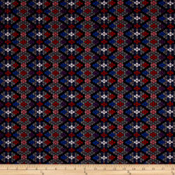 Italian Diamond Jacquard Double Knit Red/Blue/Black/White