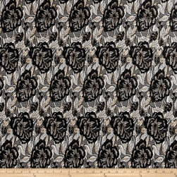 Italian Floral Jacquard Double Knit Black/Beige/White Fabric