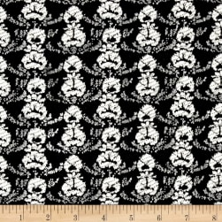 French Floral Stripe Jacquard Double Knit Black/White Fabric