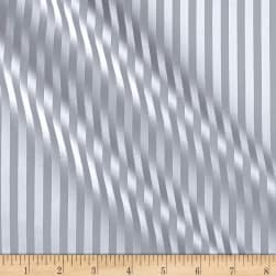 Covington Crown Stripe Satin Platinum Fabric