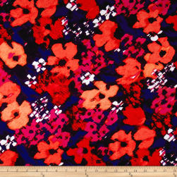 Watercolor Floral Woven Fuchsia/Plum/Salmon/Indigo Fabric