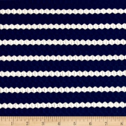 Textured Stripe Novelty Knit Navy/Cr?me