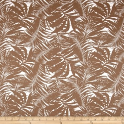 Tropical Leaves Sateen White/Taupe Fabric