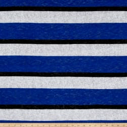 Sweater Knit BurnoutStripe Royal/White Fabric
