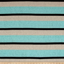 Sweater Knit Burnout Stripe Aqua/Beige Fabric