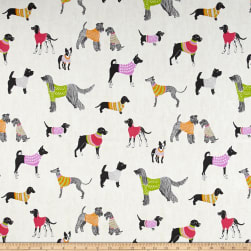PKL Studio Pups On Parade Natural Duck Fabric