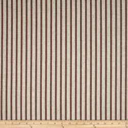 Waverly Harlow Stripe Cognac Linen Fabric