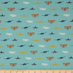 Riley Blake Airplanes Silhouette Jersey Knit Blue Fabric