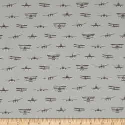Riley Blake Airplanes Silhouette Jersey Knit Gray Fabric
