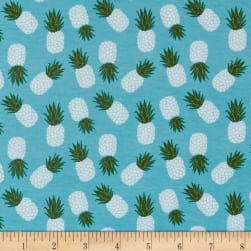 Riley Blake Havana Pineapple Jersey Knit Teal Fabric